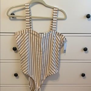 NORDSTROM tan and white striped body suit